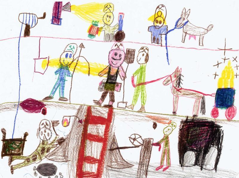 Kinder malen Bergbau 1