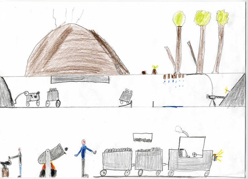 Kinder malen Bergbau 2