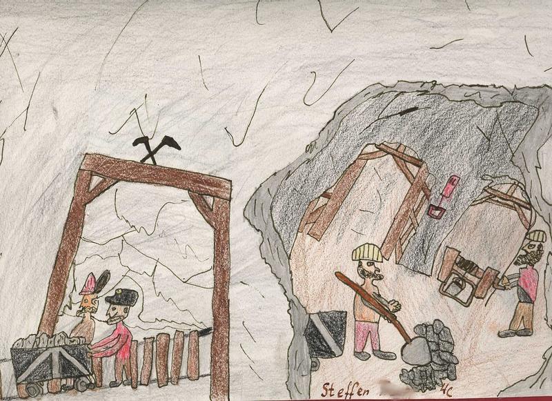 Kinder malen Bergbau 4